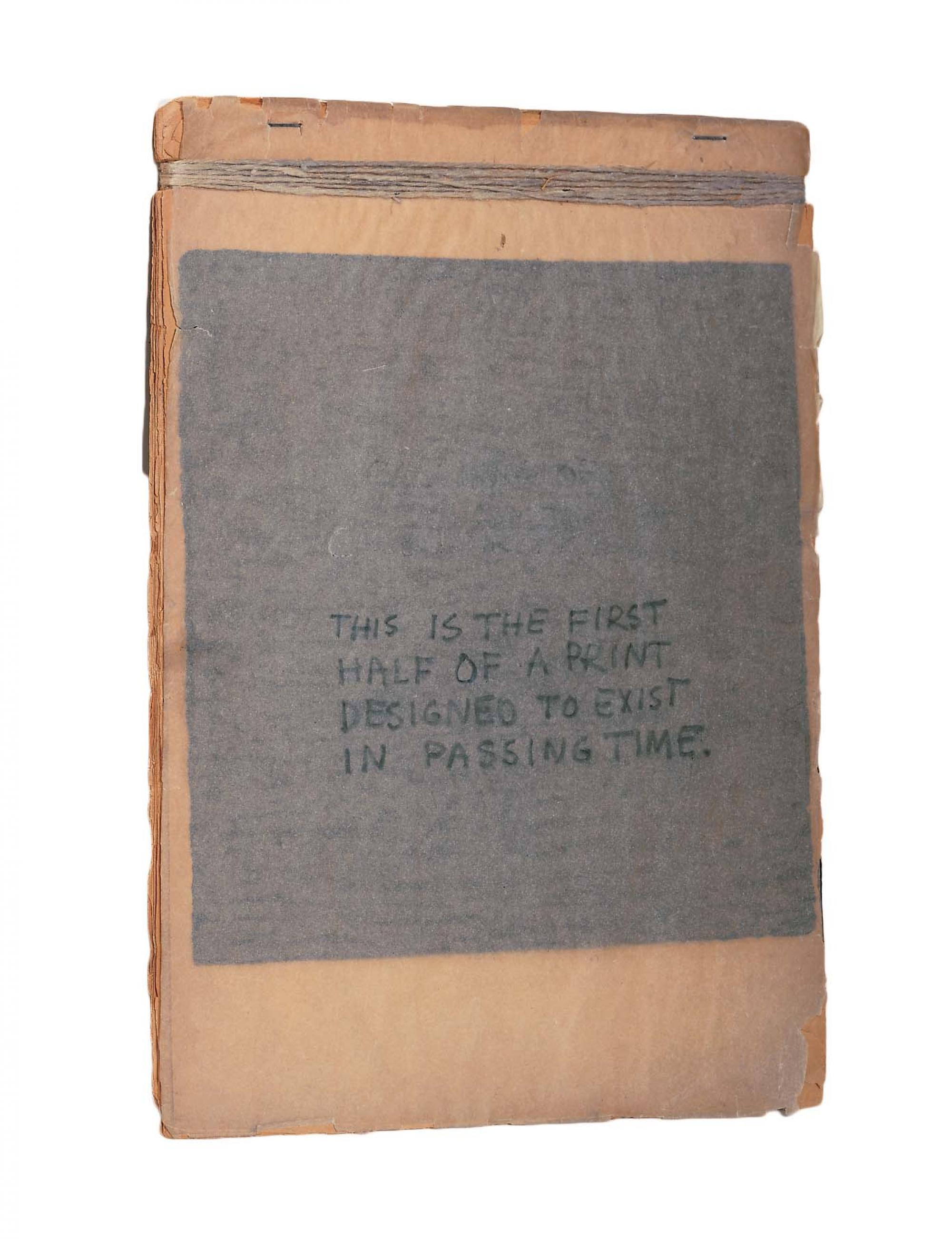 Robert Rauschenberg, This Is the First Half of a Print Designed to Exist in Passing Time (1948). Graphite on tracing paper and 14 woodcuts on paper, bound with twine and stapled [30.8 x 22.5 cm]. Robert Rauschenberg Foundation, New York.