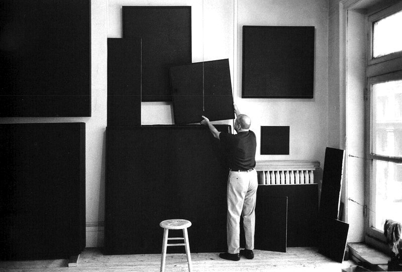 Ad Reinhardt in his studio, circa 1960.