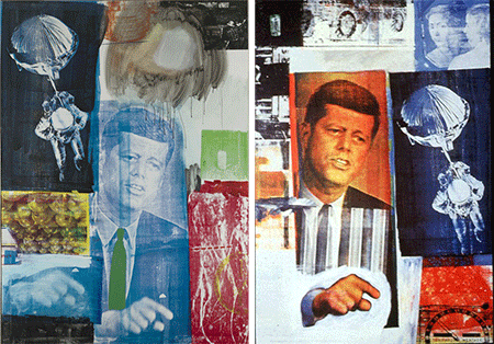 [LEFT]: Robert Rauschenberg, Retroactive I (1964). Oil and silkscreen on canvas [213.4 x 152.4 cm]. Wadsworth Atheneum, Hartford. [RIGHT]: Robert Rauschenberg, Retroactive II (1964). Oil and silkscreen on canvas [210 x 150 cm]. Stefan T Edlis Collection, Chicago.
