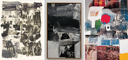 [LEFT]: Robert Rauschenberg, License (1962). Lithograph, 16 ex. [105.1 x 74.8 cm]. The Museum of Modern Art, New York [CENTER]: Robert Rauschenberg, Vault (1962). Oil and silkscreen on canvas [152.4 x 91.4 cm]. Staatsgalerie moderner Kunst, Munich [RIGHT]: Robert Rauschenberg, Archive (1963). Oil and silkscreen on canvas [213 x 152.4 cm]. Private Collection