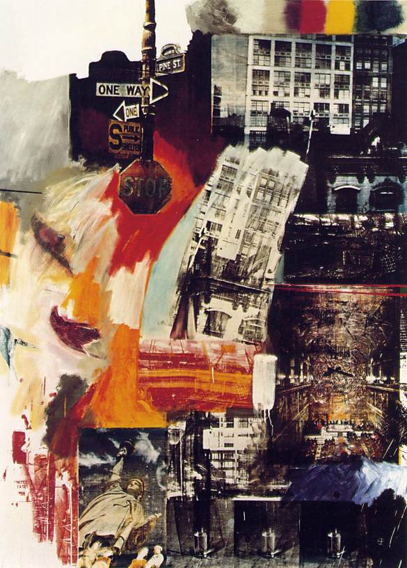 Robert Rauschenberg, Estate (1963). Oil and silkscreen on canvas [243.2 x 177.2 cm]. Philadelphia Museum of Art, Philadelphia